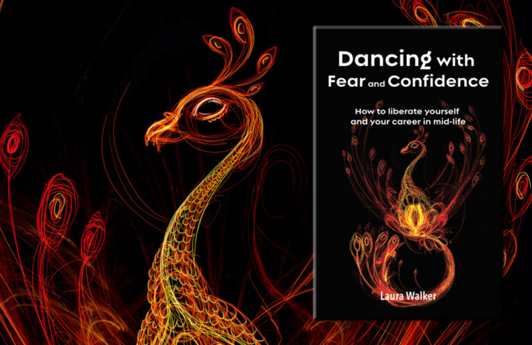 Book cover Dancing with Fear and Confidence: large image of a bright phoenix rising over a dark background